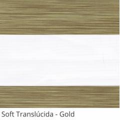 Cortina Rolô Double Vision Marrom Tecido Translúcido Coleção Soft Cor Gold