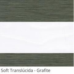 Cortina Rolô Double Vision Cinza Tecido Translúcido Coleção Soft Cor Grafite