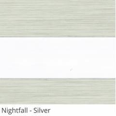 Cortina Rolô Double Vision Cinza Tecido Semi Blackout Coleção Nightfall Cor Silver