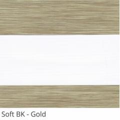 Cortina Rolô Double Vision Marrom Tecido Semi Blackout Coleção Soft Cor Gold