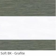 Cortina Rolô Double Vision Cinza Tecido Semi Blackout Coleção Soft Cor Grafite